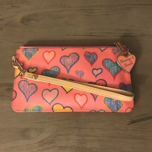 Dooney & Bourke Pink Multicolor Heart Wristlet